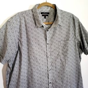 Marc Anthony Blue White Floral Button Down Top XXL